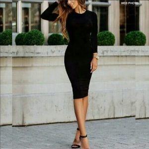 VINCE Black Bodycon Midi Dress B323